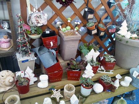 多肉植物や陶器の置物