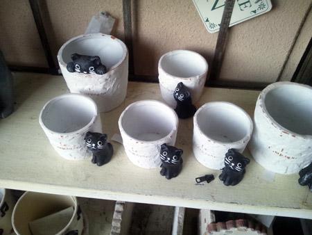 キュートなクロネコがキャラクターの鉢