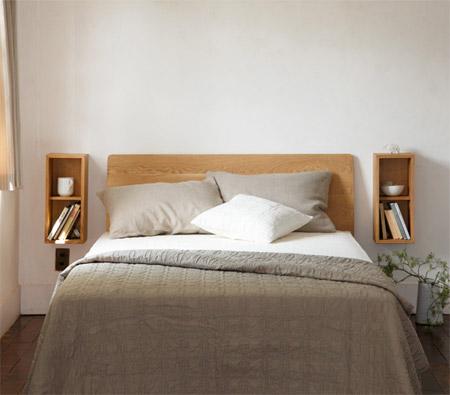 無印「壁に付けられる家具」の箱やボックスをベッドルームに