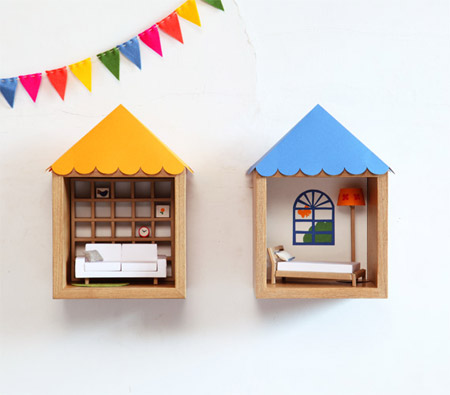 箱に屋根をつけた無印の壁に付けられる家具