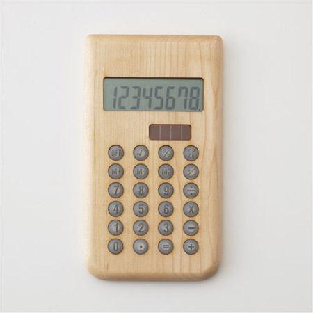 風合いが増す木製ソーラー電卓