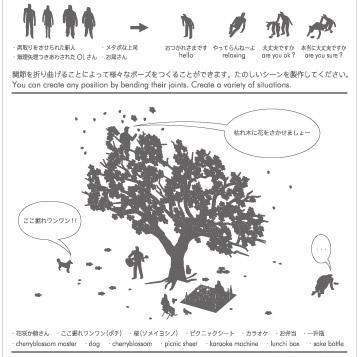 1/100建築模型用添景セット No.11 お花見編のパッケージ